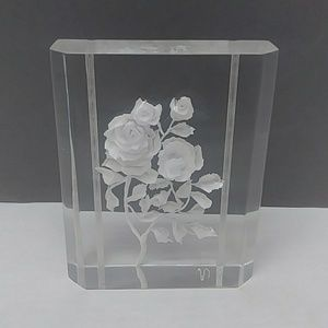 Signed reversed carved Rose lucite paperweight
